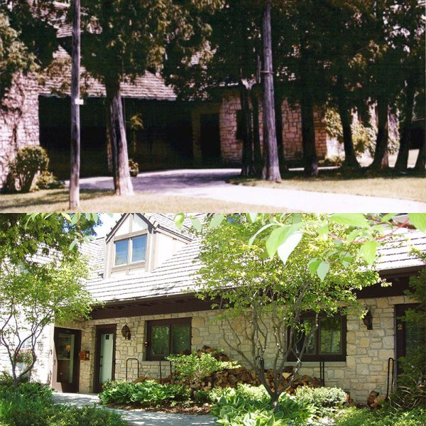 Front Before & After - Was a 4 car garage, now entrance to office & guest rooms.